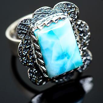 لاريمار رينغ الحجم 8.25 (925 الجنيه الاسترليني الفضة) -- اليدوية بوهو خمر مجوهرات RING990491