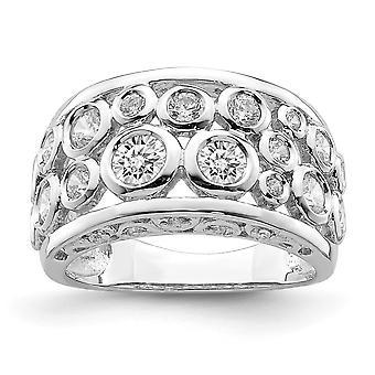 925 Sterling Silber Rhodium vergoldet Lünette Set Fancy CZ Zirkonia simuliert Diamant Ring Schmuck Geschenke für Frauen - Ri