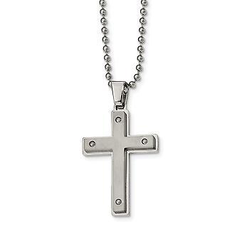 rustfritt stål børstet og polert religiøs tro cross halskjede 22 tommers smykker gaver til kvinner