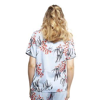 Cyberjammies 4388 Kvinnor & apos, s Olivia Blue Floral Print Bomull Pyjamas Top