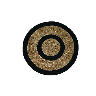 Stripes Indian Design Recycled Floor Rug Jute Natural And Black