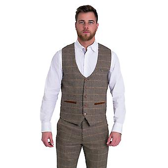 Marc Darcy TED Tan Check Tweed Vest met fluwelen contrast