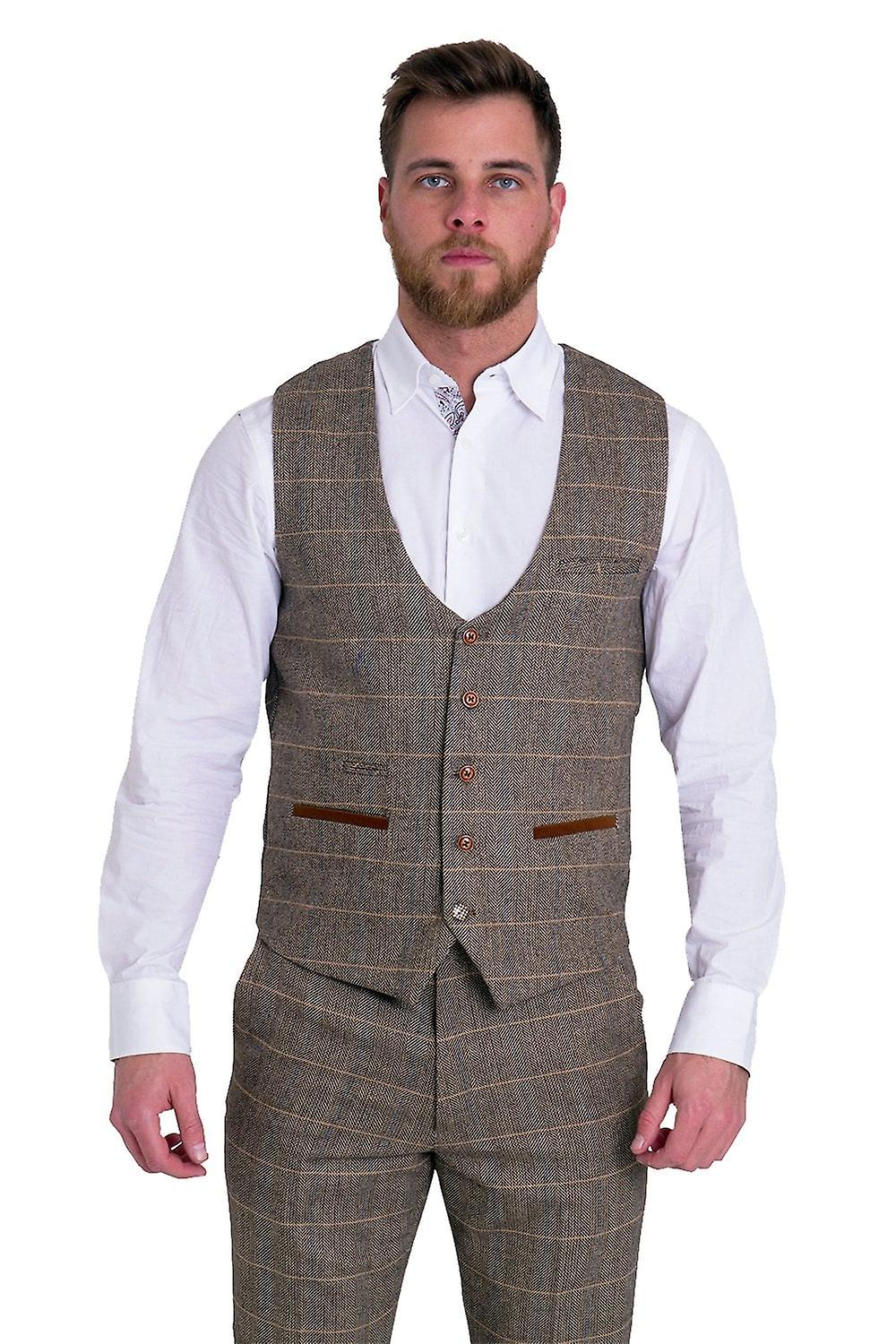 Marc Darcy TED Tan Check Tweed Waistcoat With Velvet Contrast