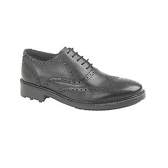 Roamers Black Leather 5 Eyelet Brogue Oxford Shoe