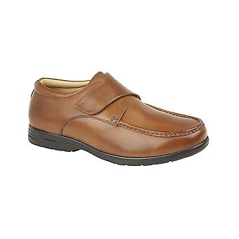 Roamers Tan Leather Xxx Extra Wide Touch Fastening Casual Shoe