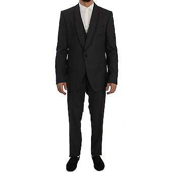 Dolce & Gabbana Gray Striped Wool Slim Fit 3 Piece Suit