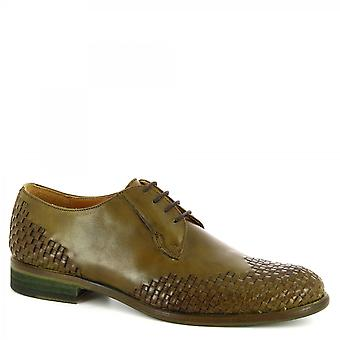 Leonardo Shoes Men's handmade oxford lace-ups shoes woven green calf leather