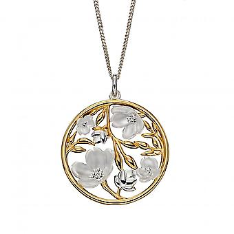 Elements Silver Sterling Silver Cherry Blossom Disc Yellow Gold Plating Pendant P4857