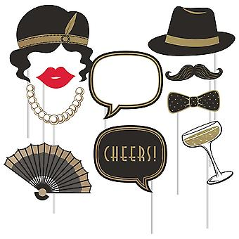 Roaring 20's Photo Booth Props Black and Gold x 10 - Wedding Décor