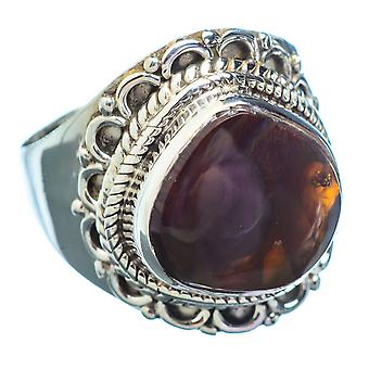 Mexican Fire Agate Ring Size 8 (925 Sterling Silver)  - Handmade Boho Vintage Jewelry RING2645