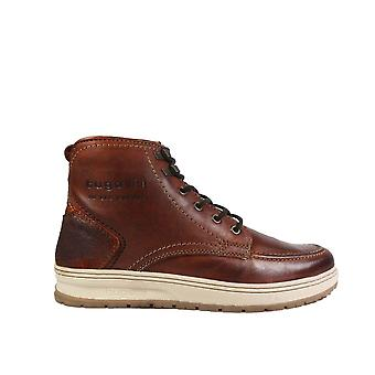 Bugatti 321-33456 Brown Leather Mens Zip/Lace Ankle Boots