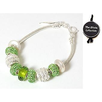 Toc Beadz Sterling Silver Gorgeous-Green Crystal Bead Bracelet