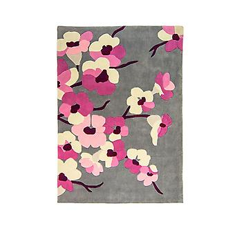 Infinite Blossom Rug - Rectangular - Charcoal/pink