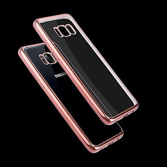For Samsung Galaxy S8 Case,Transparent Electroplating Protective Cover,Rose Gold