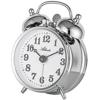 Atlanta 1068/19 mechanical alarm bell alarm clock twin Bell alarm clock silver