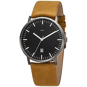 JOBO Men's Watch Quartz Analog Titanium Leather Strap Brown