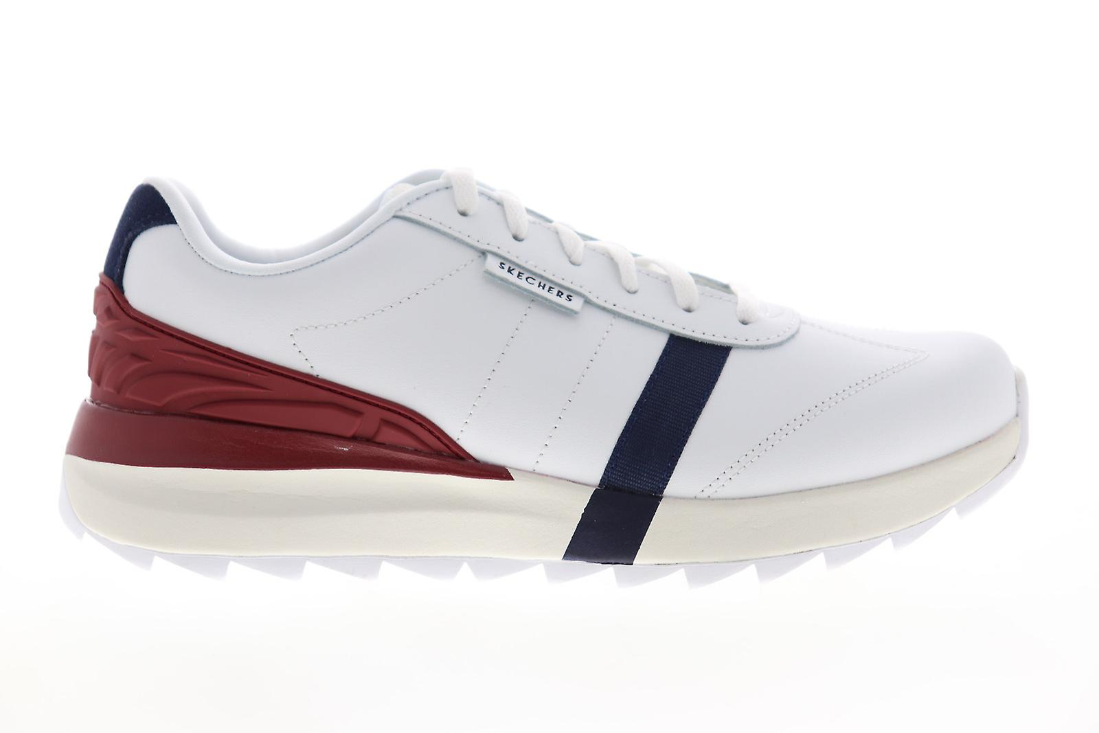 Skechers Speedtooth Hommes White Leather Lace Up Low Top Sneakers Chaussures
