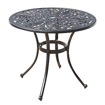 Round Metal Dining Table - Outdoor Weather Resistant Garden Patio Furniture