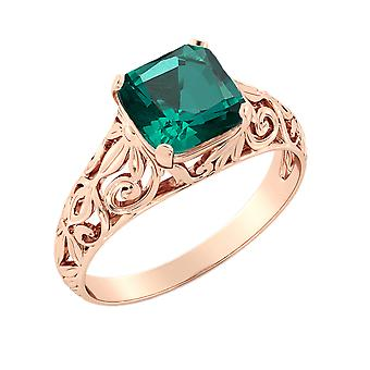 14K Rose Gold 2.00 CT Emerald Ring Vintage Art Deco Filigree