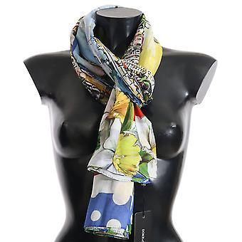 Dolce & Gabbana Multicolor CANNES 100% Cotton Shawl Wrap 180cm X 120cm Scarf -- MS50928368