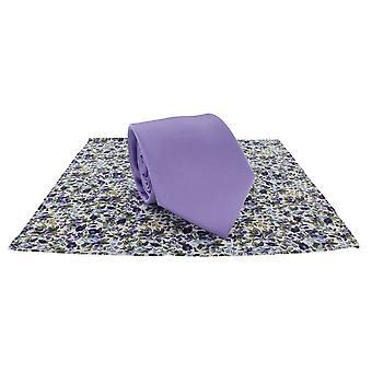 Michelsons Londyn zwykły krawat i kontrast kwiatowy placu kieszeni zestaw - liliowy
