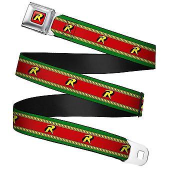 DC Comics Robin & R & Logo Stripe Webbing Pasy bezpieczeństwa Pas klamrowy