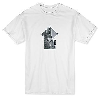Blanco y negro iluminado camiseta edificio diseño hombres