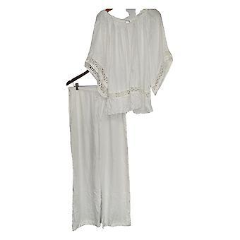 Masseys Set Pristine 3/4 Sleeve Top & Pants Set White
