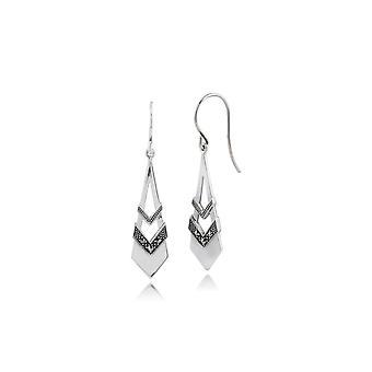 Art Deco Style Round Opal & MarcasiteOpen Work Fan Drop Earrings in 925 Sterling Silver 214E842801925