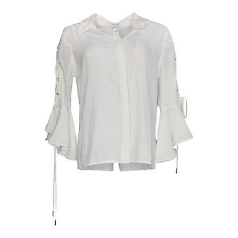 Masseys Women's Top Luxe Lace-Up Ruffled Blouse White