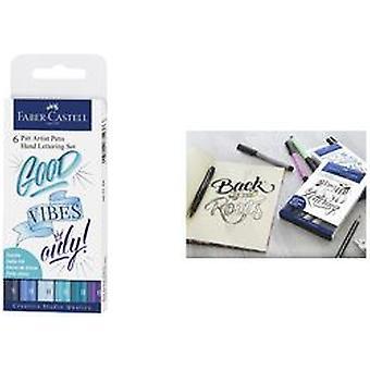 Faber Castell Drawing Pen Pitt Artist Set Handlettering Blue (6pcs) (FC-267123)