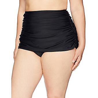 Merk - Coastal Blue Women's Plus Size Swimwear Retro High Waisted Faux Skirt, Ebony, 1X (16W-18W)
