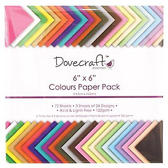 Dovecraft 6x6 tommers farger papirpakke