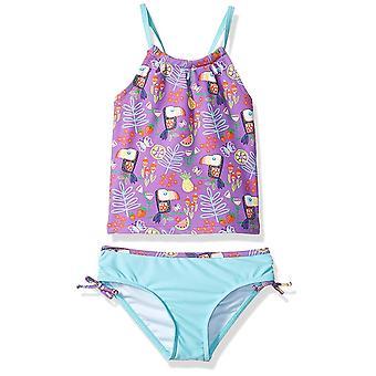 KIKO & MAX Toddler Girls' Tankini Bathing Swim Suit, Purple Tropical Print, 4T