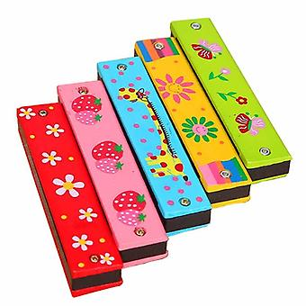 16 Holes Cute Harmonica Musical Instrument Montessori Educational Toys- Cartoon Pattern Kids Wind Instrument Children Gift (random Color)