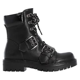 Rieker Black Combat Style Buckle Detail Ankle Boot With Zip