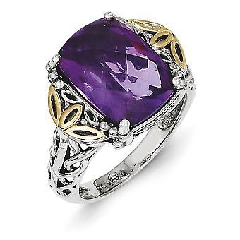 925 Sterling Silver Polished Prong set Met 14k Amethisst Ring Sieraden Geschenken voor vrouwen - Ring Size: 6 tot 8