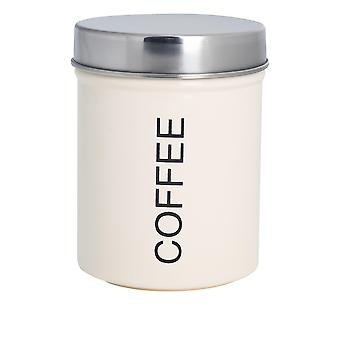 Contemporary Coffee Canister - Steel Kitchen Storage Caddy with Rubber Seal - Cream
