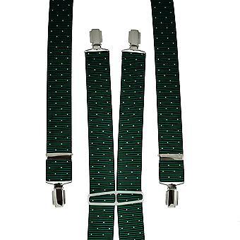 Krawaty Planet Green & Black Ribbed z białym polka Dot Men&s Spodnie szelki