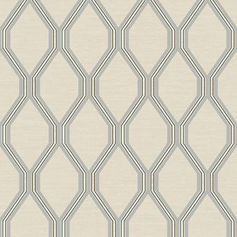 Ariana Geometric Wallpaper Ivoire / Silver Debona 2487