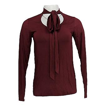 Lisa Rinna Collection Women's Top (XXS) Neck Tie Long Sleeve Red A345861