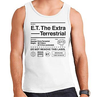 E.t. El perfil de especificación extraterrestre Hombres's Chaleco