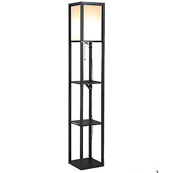 HOMCOM 4-Tier Floor Lamp, Floor Light with Storage Shelf, Reading Standing Lamp for Living Room, Bedroom, Kitchen, Dining Room, Office, Dorm, White and Black