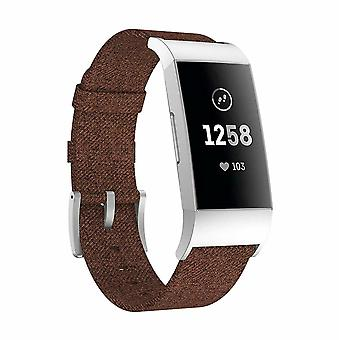 For Fitbit Charge 4 3 SE Strap Woven Nylon Wristband Watch Band Replacement[Brown]