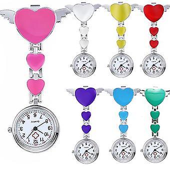 Frauen Sweet Heart Wing Metal Krankenschwester Uhr Anhänger Clip Watch
