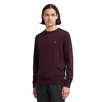 Farah Mullen Cotton Jumper - Burgundy Red