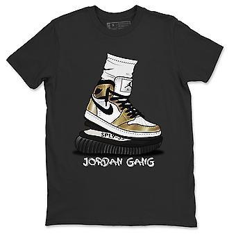 الأردن عصابة تي شيرت الأردن 1 معدنية الذهب حذاء رياضي الأعلى - AJ1 الزي