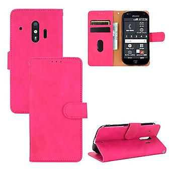 For Fujitsu F-42A / F-01L Solid Color Skin Feel Magnetic Buckle Horizontal Flip Calf Texture PU Leather Case with Holder & Card Slots & Wallet(Rose Re