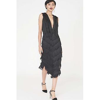 The black fringed lace midi dress