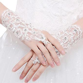 Women Fingerless Bridal Elegant Short Rhinestonelace Glove